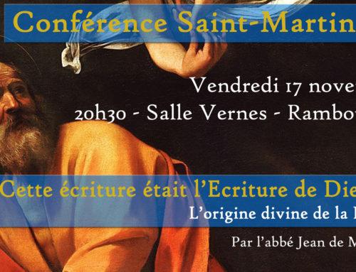 Conférence Saint-Martin 3.2 : L'origine divine de la Bible